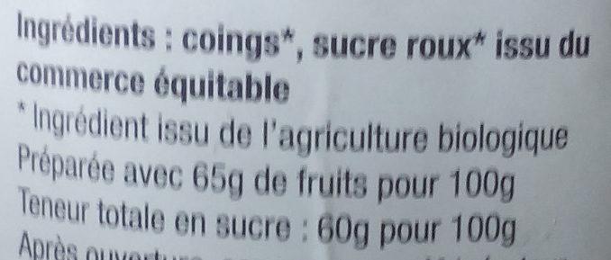Gelée Coings extra - Ingrédients - fr