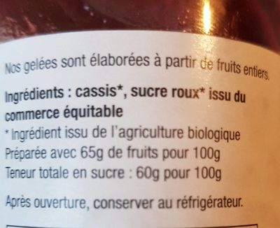 Gelée cassis extra - Inhaltsstoffe - fr
