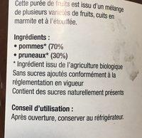 Purée Pomme Pruneaux - Côteaux Nantais - 630 G - Ingrediënten