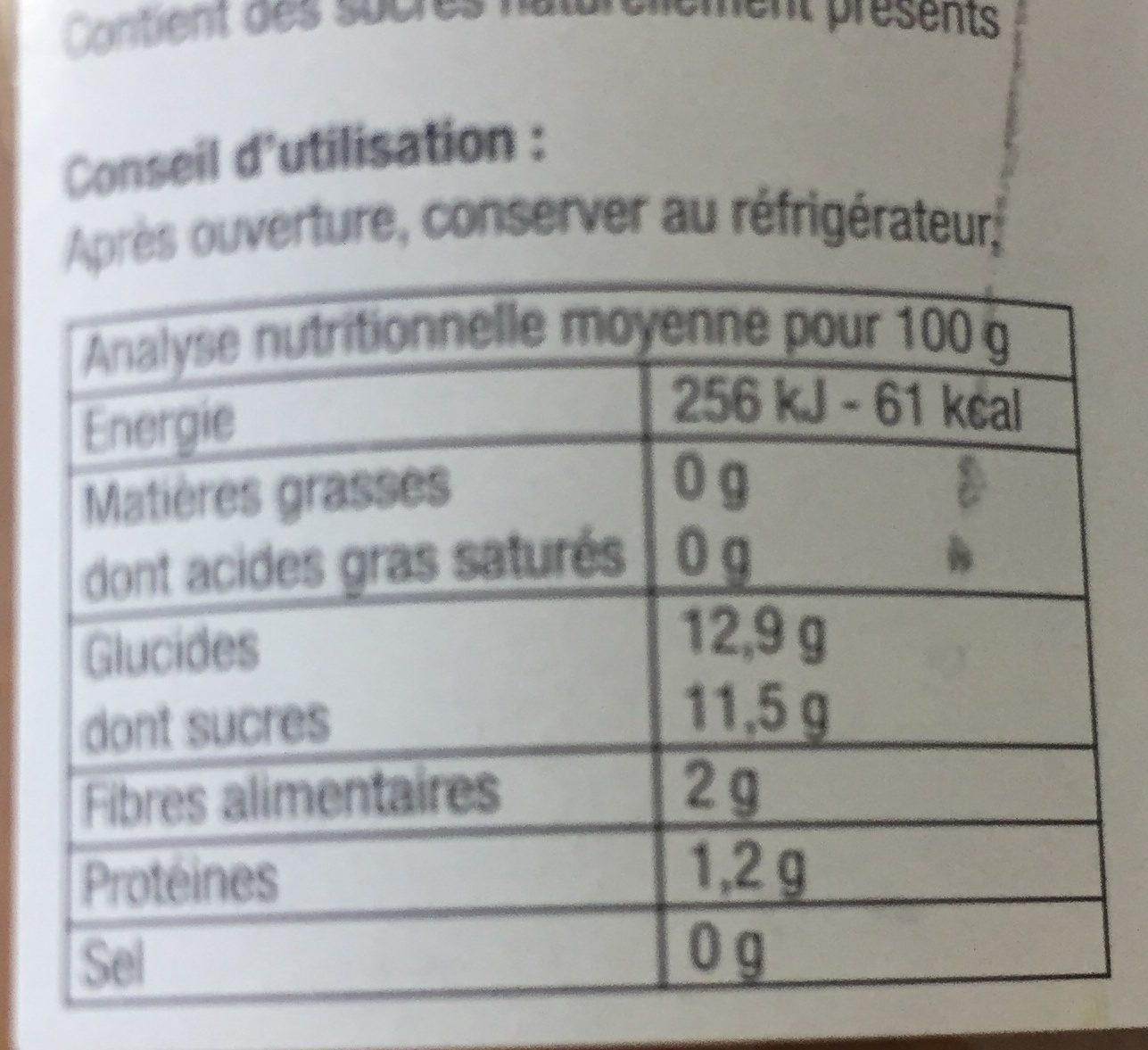 Purée Pommes/Figues - Informations nutritionnelles