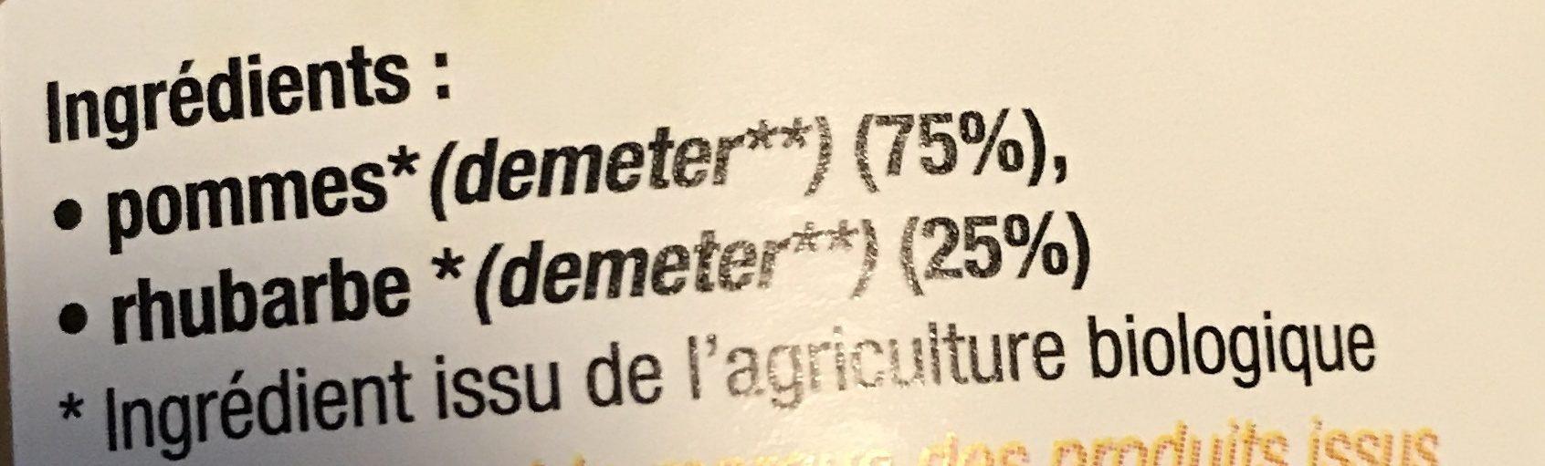 Purée Pommes Rhubarbe - Ingrédients - fr