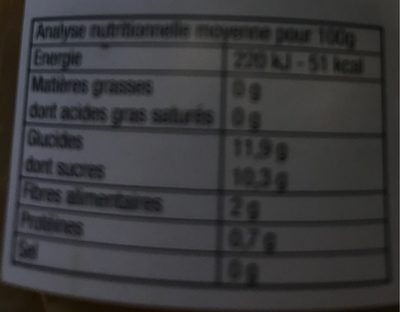 Purée Pommes Rhubarbe - Informations nutritionnelles