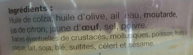 Aïoli - Ingrediënten - fr