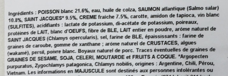 2 boudins de poissons et de saint jacques - Ingrédients - fr