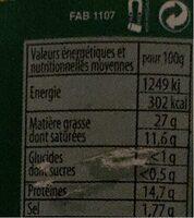 Le Revelois pâté de campagne pur porc - Informations nutritionnelles - fr