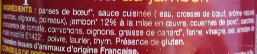 Tripes Au Boeuf Et Jambon - Ingrédients - fr