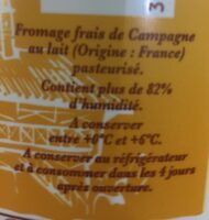 Fromage frais de campagne (6% MG) - Ingredienti - fr