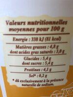 Fromage frais de campagne (6% MG) - Valori nutrizionali - fr