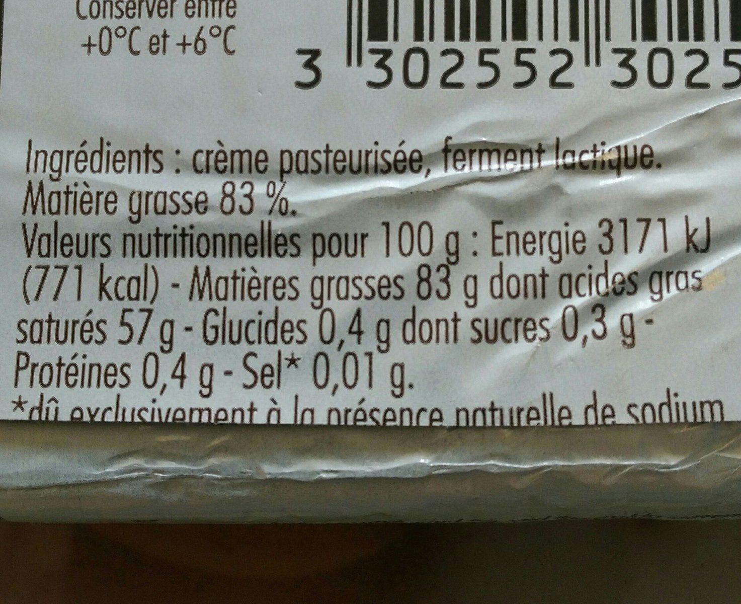 Beurre de Bresse - Ingrédients - fr