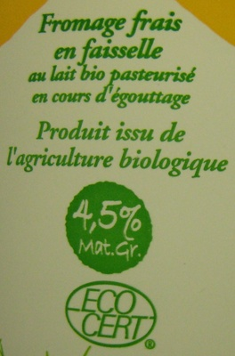Faisselle Bio (4,5 % MG) - Ingredients