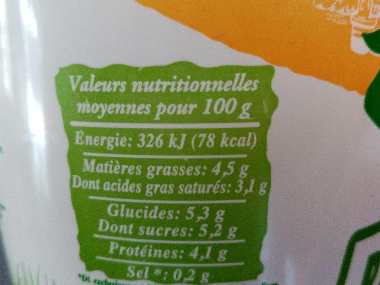 Faisselle Bio (4,5 % MG) - Informations nutritionnelles - fr