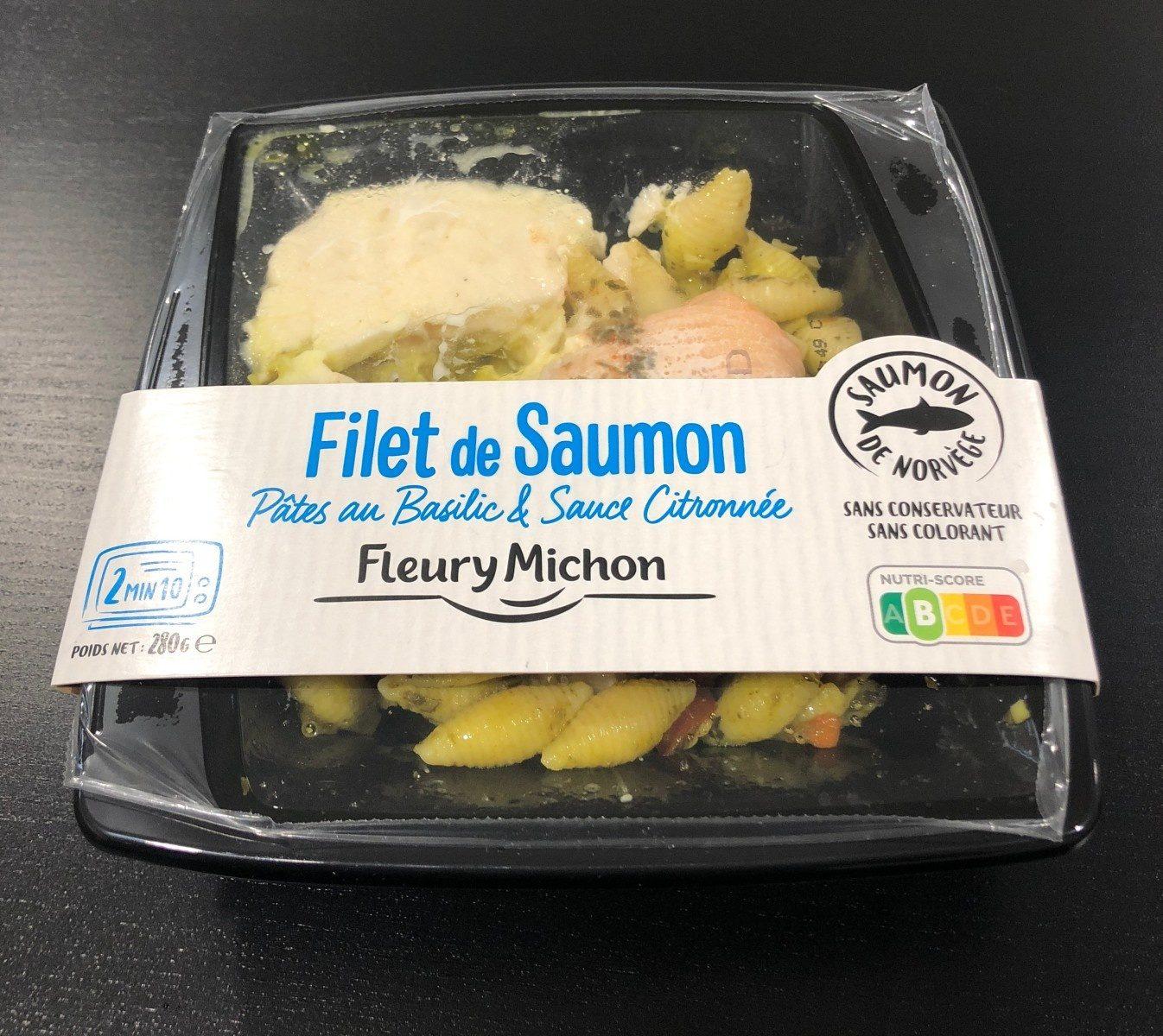 Filet de saumon pâtes au basilic et sauce citronnée - Producto