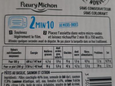 Filet de saumon pâtes au basilic et sauce citronnée - Información nutricional