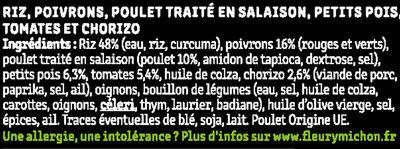 Paëlla poulet, riz & chorizo, sauce poivrons tomates - Ingrédients - fr