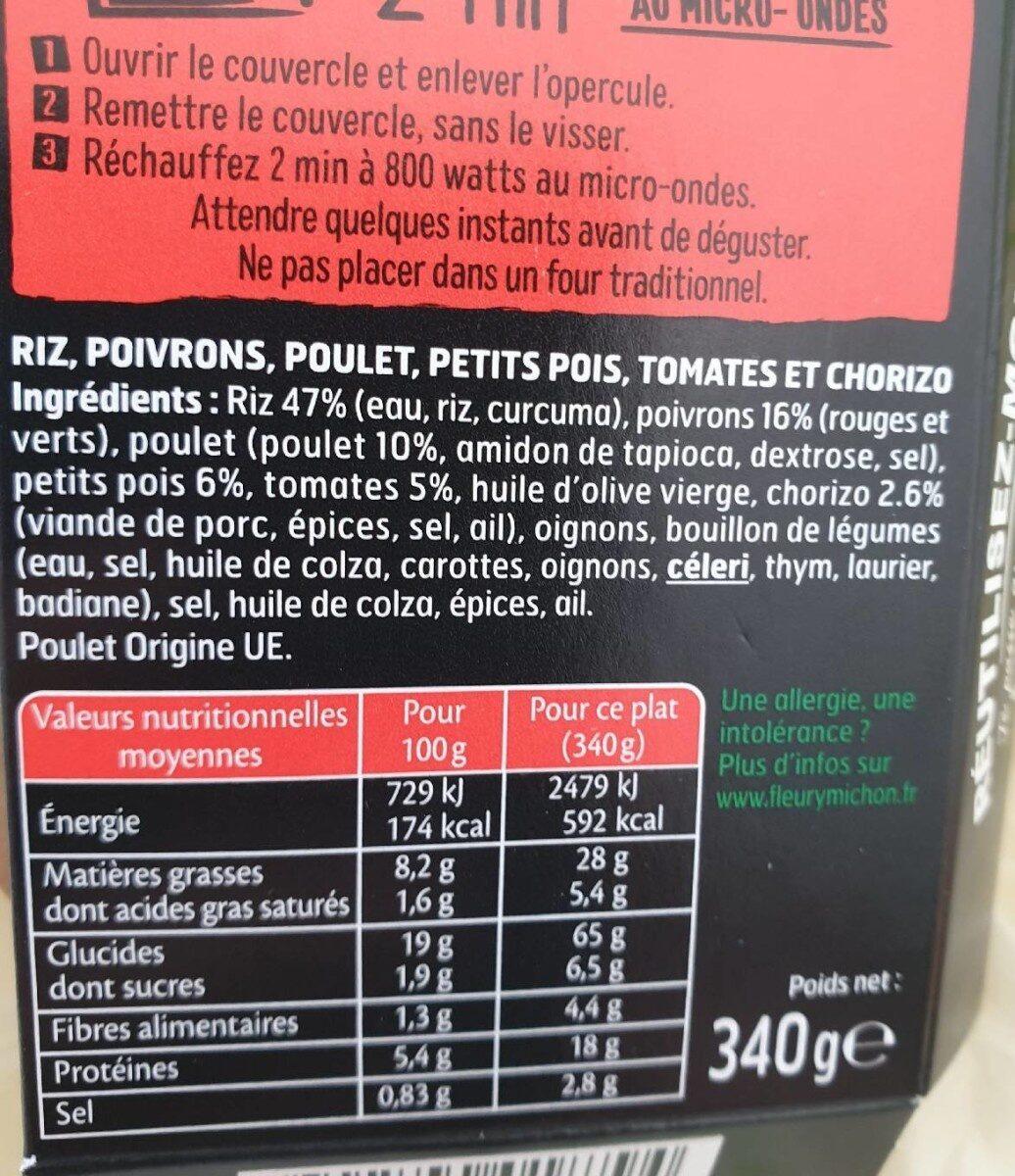Paëlla poulet, riz & chorizo, sauce poivrons tomates - Ingredienti - fr