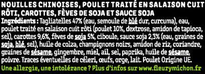 Poulet, nouilles chinoises & légumes croquants, sauce soja - Ingrediënten - fr