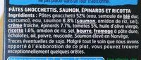 Saumon, gnocchetti, sauce ricotta épinards - Ingrédients - fr