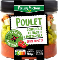 Poulet, conchiglie au basilic & mozzarella, sauce tomates - Produit - fr