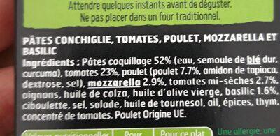Poulet, conchiglie au basilic & mozzarella, sauce tomates - Ingrédients - fr