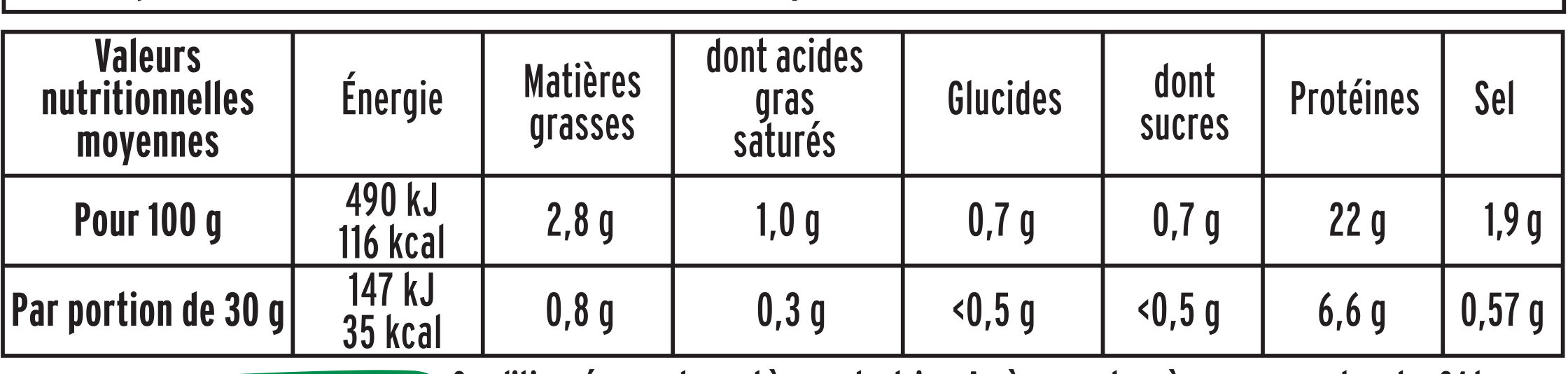 LE JAMBON ZERO NITRITE - 4 tr - Nutrition facts