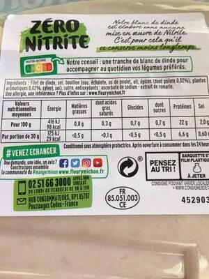 4 TRANCHES BLANC DE DINDE ZERO NITRITE - Ingrédients
