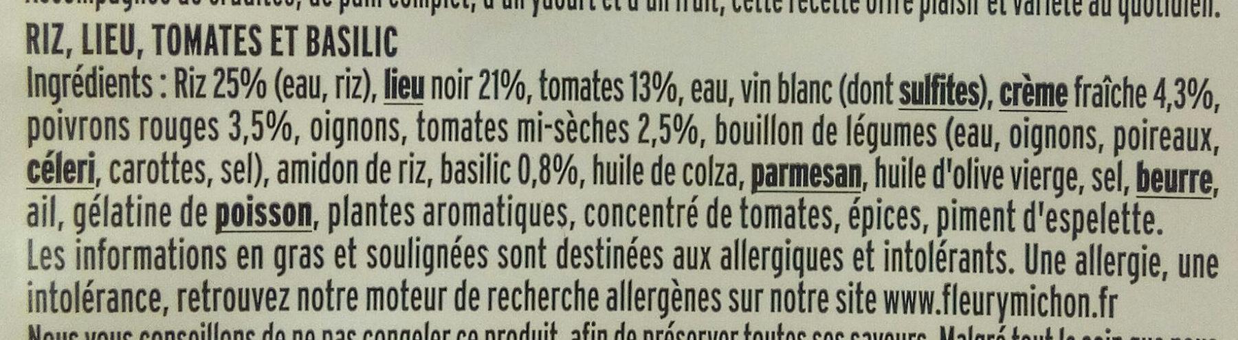 Filet de lieu Risotto Tomates Basilic - Ingredients
