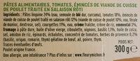 Les Tagliatelles à l'Italienne & Poulet sauce crème & basilic - Inhaltsstoffe - fr