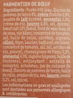 Le Parmentier de Boeuf Charolais purée à la crème fraîche - Ingredienti - fr
