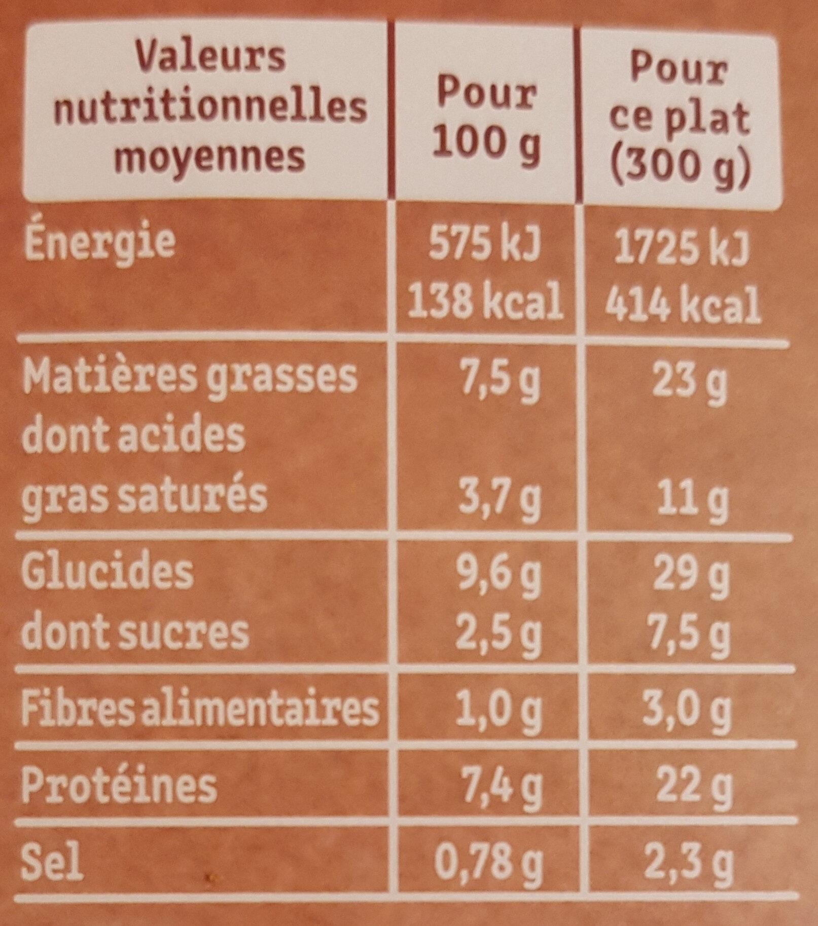Le Parmentier de Boeuf Charolais purée à la crème fraîche - Valori nutrizionali - fr