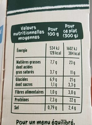 Parmentier de saumon aux épinards - Nutrition facts