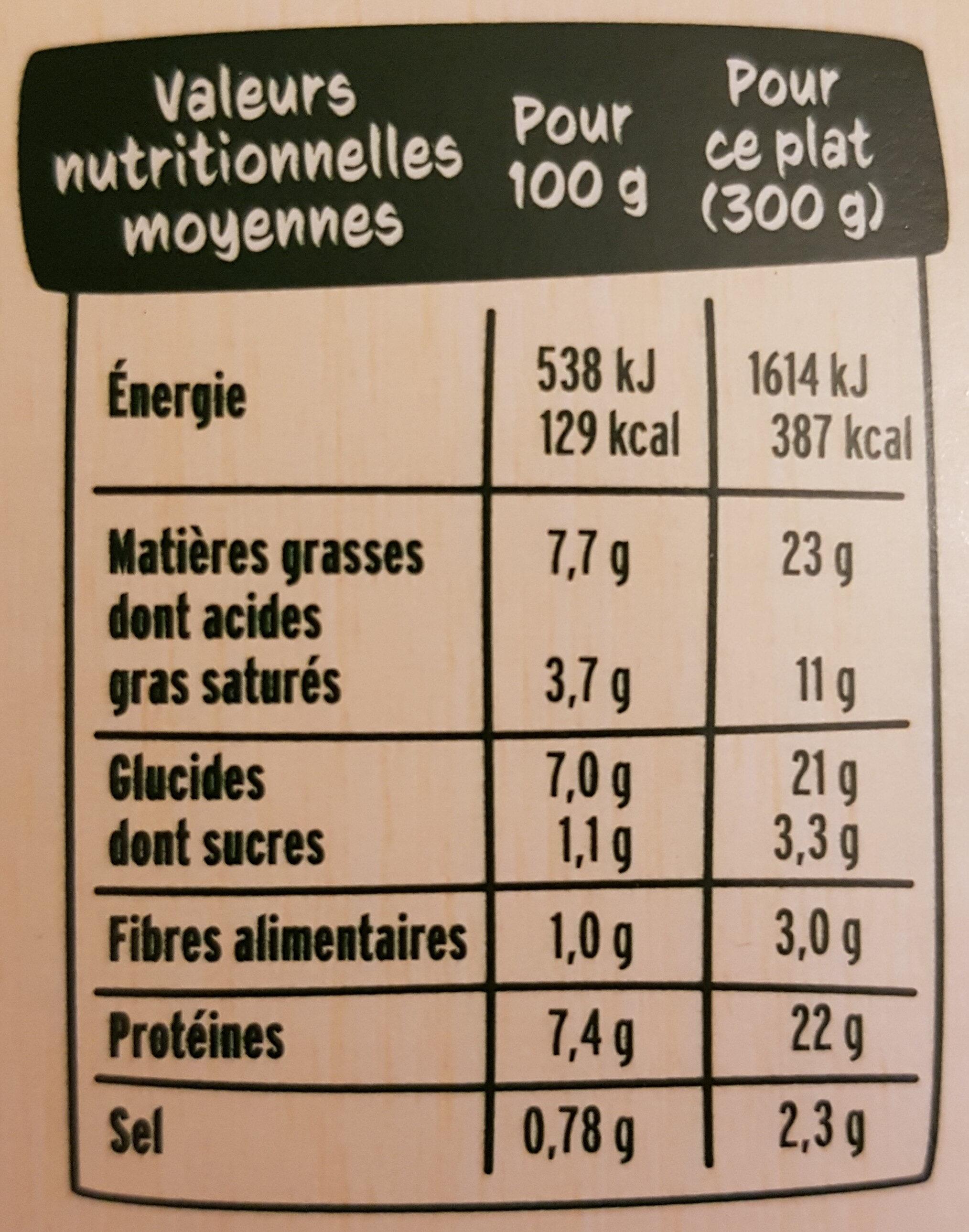 Le Parmentier de saumon sauce ricotta épinards - Nutrition facts - fr