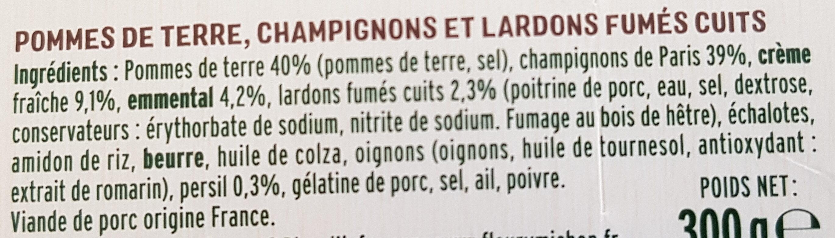 Pommes de terre gratinées aux lardons et champignons - Ingrediënten - fr