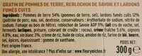 Tartiflette au Reblochon - Ingrédients