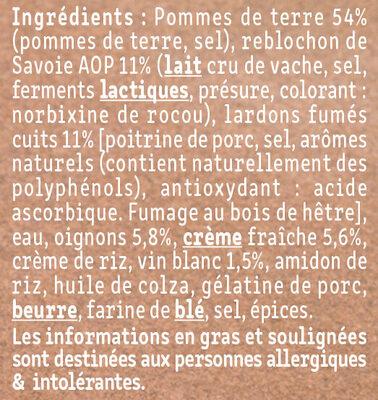 La tartiflette au Reblochon cuisinée aux petits oignons - Ingrédients
