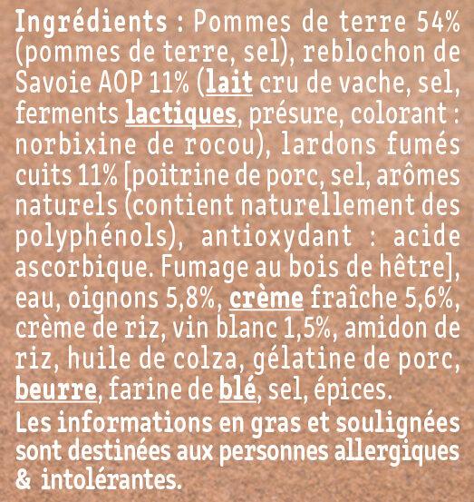 La tartiflette au Reblochon cuisinée aux petits oignons - Ingrédients - fr