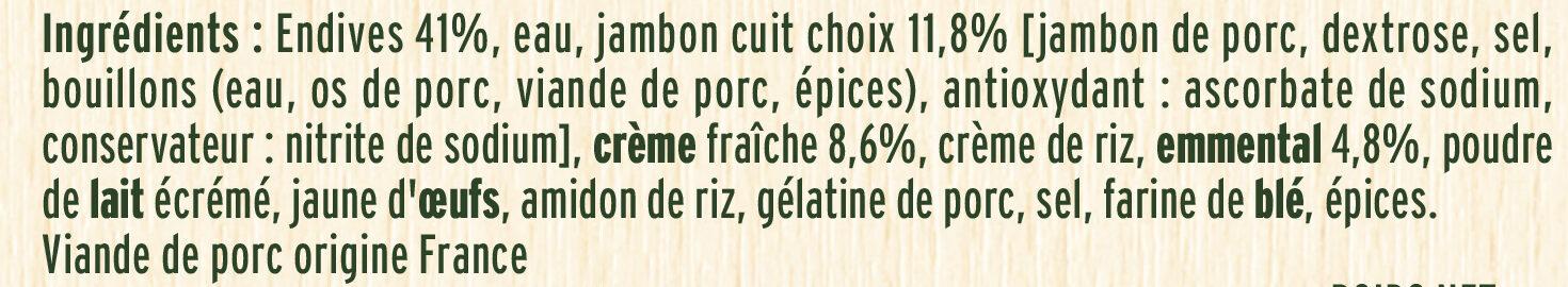 Les Endives au Jambon sauce onctueuse à la crème - Ingredienti - fr