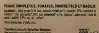 Penne complètes & légumes du soleil - Ingredients - fr