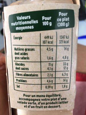 Penne complètes & légumes du soleil - Nutrition facts