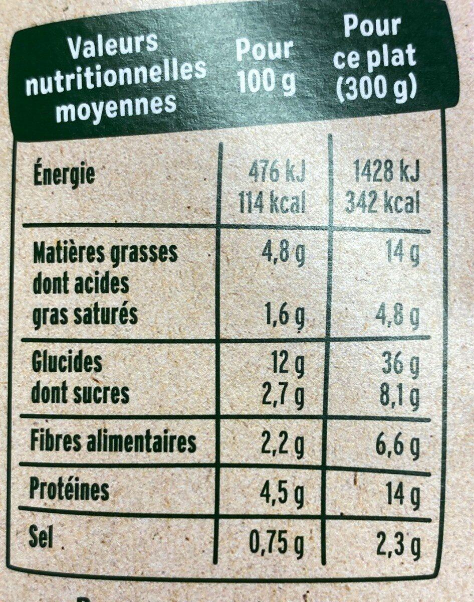 Penne complètes & légumes du soleil - Valori nutrizionali - fr