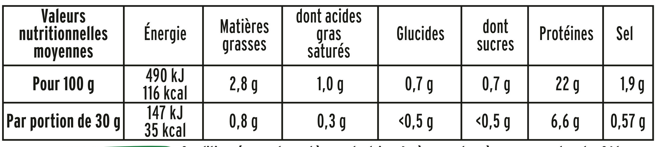 Le Torchon Zéro Nitrite - Valori nutrizionali - fr
