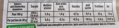Le Torchon Zéro Nitrite 4 tranches - Voedingswaarden