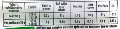 Le rôti de porc ZERO NITRITE - 4 TR - Informations nutritionnelles