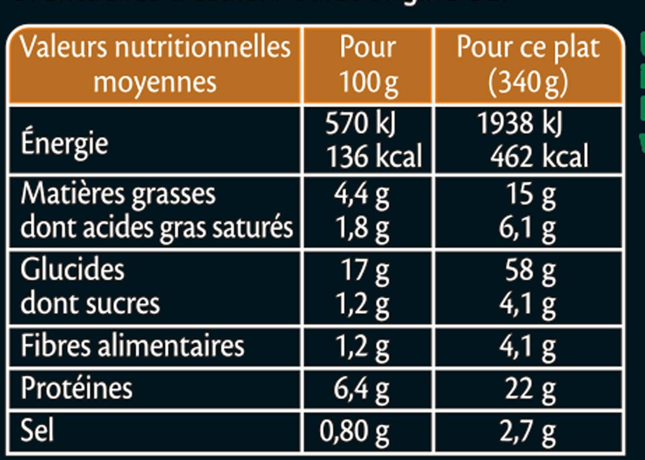 Poulet à l'orientale semoule aux légumes sauce blanche - Informations nutritionnelles - fr