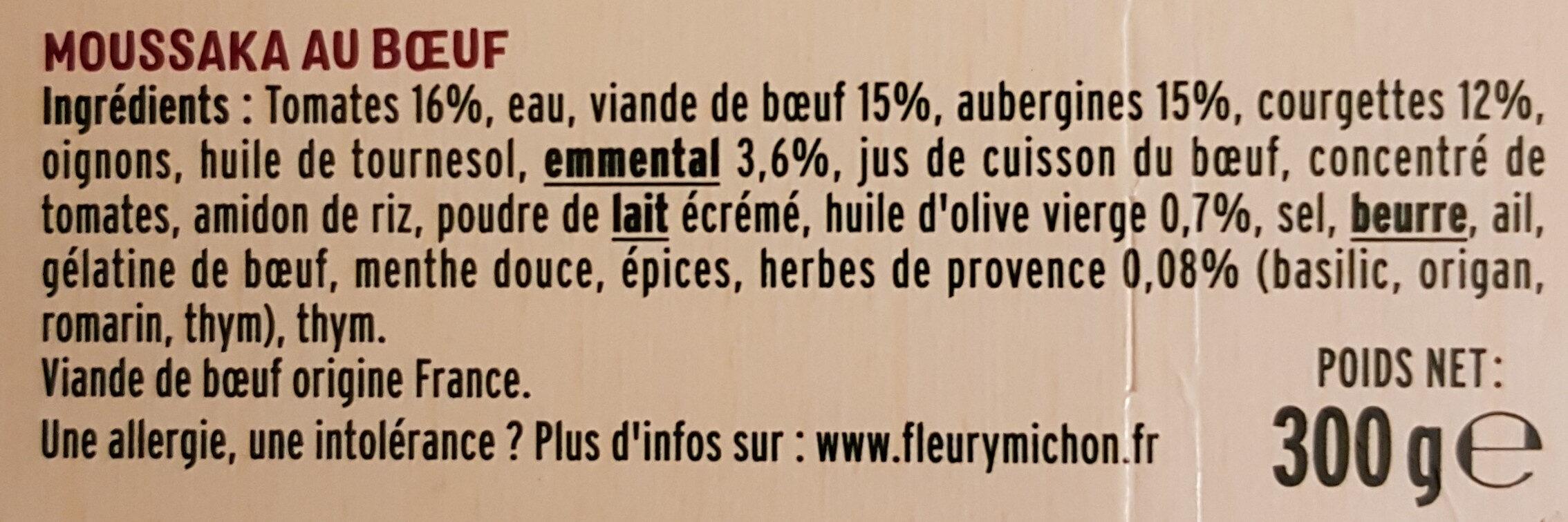 La Moussaka Boeuf & Aubergines avec une touche de menthe douce - Ingrédients - fr