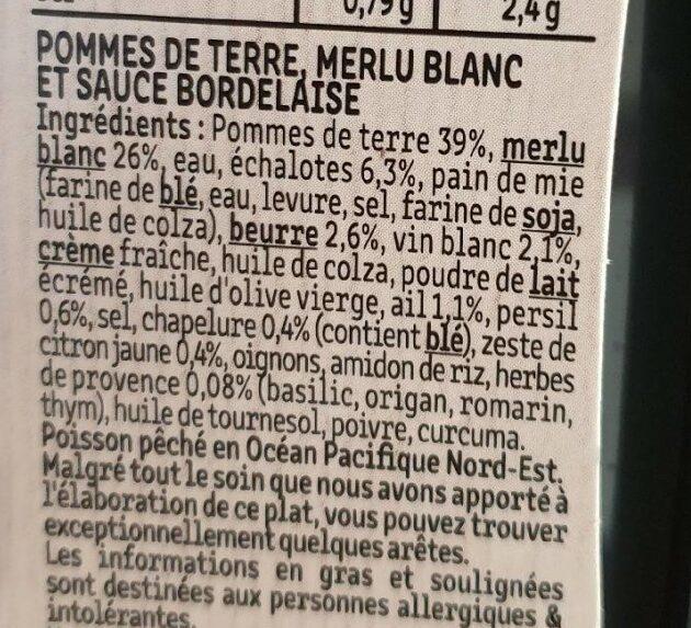 Poisson à la Bordelaise & écrasé de pommes de terre - Ingredients - fr