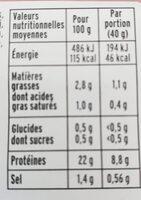 Le Supérieur -25% de Sel - Conservation sans Nitrite - Informations nutritionnelles - fr