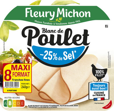 Blanc de poulet - tranches fines - 25% de sel* - 100% filet ** -  8 tranches fines - Prodotto - fr