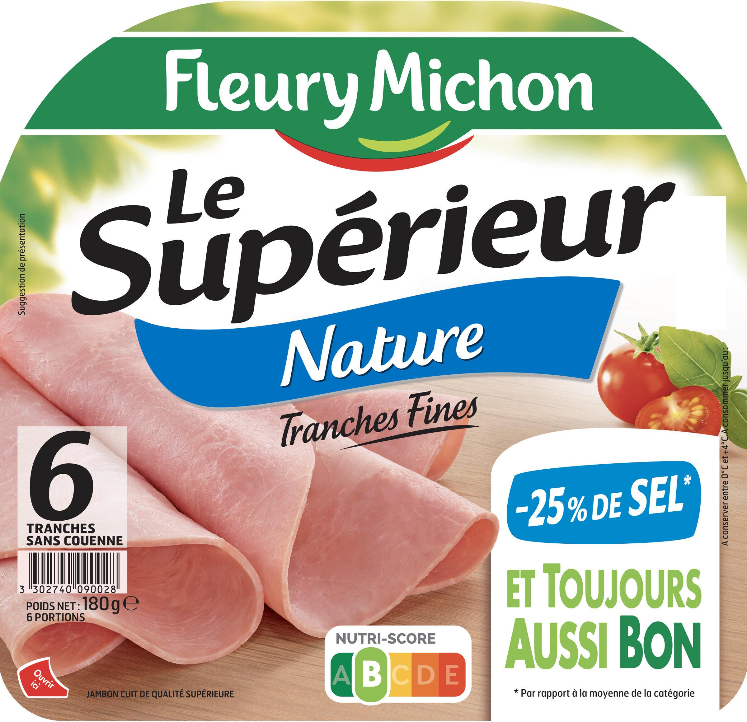 Le supérieur nature - tranches fines-  25% de sel* - 6 tranches - Product - fr