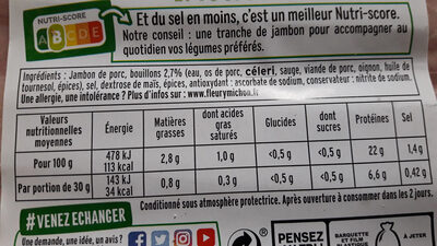 Le supérieur nature - tranches fines-  25% de sel* - 6 tranches - Voedingswaarden - fr