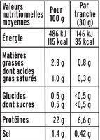 Le supérieur nature - tranches fines-  25% de sel* - 6 tranches - Valori nutrizionali - fr